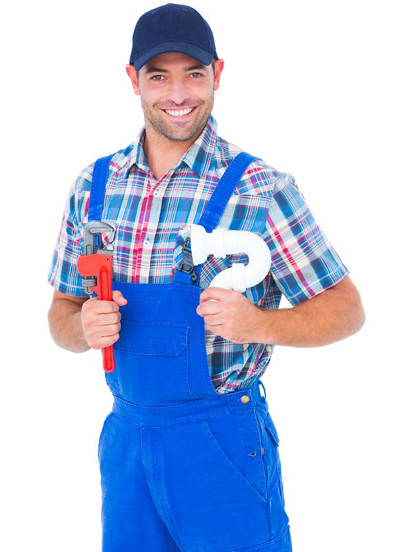 plumber smiling with tools